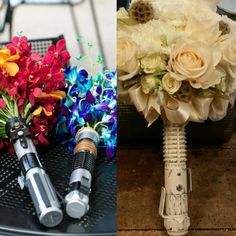 Star wars Disney Wedding Lightsaber Boquet Flower holder by MindyCreates on Etsy https://www.etsy.com/listing/268548270/star-wars-disney-wedding-lightsaber