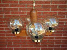 Vintage Oak Chandelier 1970's Modern Rustic Mid Century Smoked Glass Globes | eBay