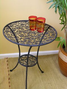 Fancy Size wide x tall The small iron table is painted in a hard wearing black paint making it perfect for your Moroccan inspired garden