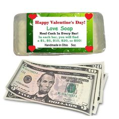 1 bar of money love soap. Each money bar of soap is made of premium soap base. There is real cash in every bar. You might get a $1, $2, $5. $10, $20, $50 or even a $100 dollar bill. The soap is 5 ounces. This is a fun gift to give to everyone for Valentine's Day gift. Handmade in Ohio. Made in the USA. Jackpot Cash Bar Valentine Day Love, Valentines Day Party, Gag Gifts, Best Gifts, Unique Gifts, Candy Corn Crafts, Glycerin Soap Base, Happy Birthday Jesus, 100 Dollar