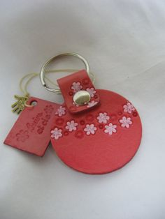 Pink Flowers leather key ring by Cuirsetcompagnie on Etsy