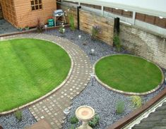 pair of new separate circular lawns show potential for distinct areas once screening planting grows back garden ideasgarden design