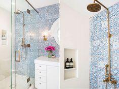 Bagno con piastrelle blu e bianco - modello Patchwork marocchino vintage vittoriano