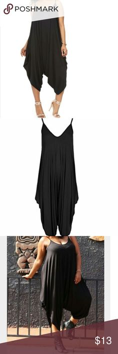 Black jumpsuit Harem style.  Comfortable Straps ARE NOT adjustable  Size Tag is One Size but fits me as an 18/20 so I listed it as a size 18.  I've gotton several offers but the price is firm as I paid $40 at the boutique. Pants Jumpsuits & Rompers