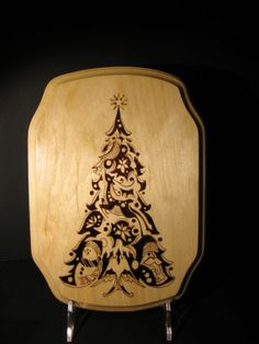 Very beautiful wood burnt Christmas tree plaque.