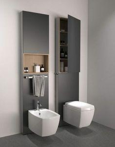 meuble de salle de bain colonne couleur gris, alinea salle de bain