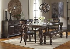 Gerlane Dark Brown Rectangular Dining Room Extension Table w/ Bench, Server and 4 Side Chairs