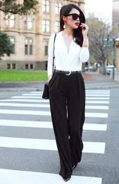 white blouse and black trousers work outfit