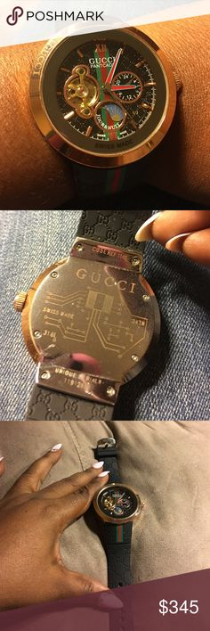 Gucci pantcaon watch Black rubber straps and black face with rose gold. Swiss made with Gucci logos inside and out. Hand winding automatic and has the serial number on the back with product reference code. It has a few scratches in the back but in great condition. I lost the box in my move. 💯 real🚫🚫No low ball offers and no trades 🚫🚫. It's unisex also Gucci Accessories Watches