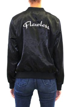 """Embroidered Patch """"Flawless"""" Bomber Jacket  #embroidered #lightweight #bomberjacket #jacket #outerwear"""