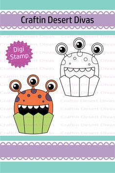 Cupcake Cutie Eye Monster Digital Stamp - Craftin Desert Divas