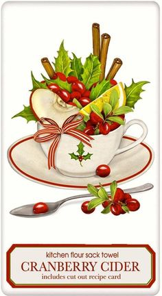 Christmas Cranberry Cider 100% Cotton Flour Sack Dish Towel Tea Towel: