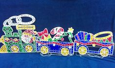 6.5' Lighted Holographic Holiday Train Engine Christmas Light Motion ~See VIDEO