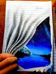 Creative 3D Drawing works by João A.Carvalho - Nas linhas do caderno