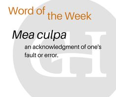 It's GillespieHall's Fun Fact Friday: Today's topic = word of the week. And the word is… mea culpa – an acknowledgement of one's fault or error. Latin for 'by my fault. Mea Culpa, Fun Fact Friday, Social Media Content, Public Relations, Delaware, Fun Facts, Management, Marketing, Words