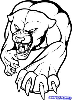 Attractive Outline Tribal Panther Tattoo Design