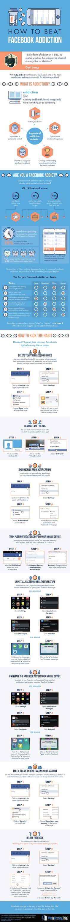 Hola: Una infografía sobrecómo combatir la adicción a Facebook. Un saludo  Source: WhoIsHostingThis.com