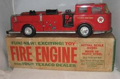 VINTAGE BUDDY L PRESSED STEEL TEXACO FIRE CHIEF FIRE TRUCK~My brother got this fire truck for Christmas~He still has it~
