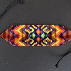 Handmade Colombian Seed Necklace and Earrings Set Beaded Bracelet Patterns, Peyote Patterns, Beading Patterns, Beaded Necklace, Beaded Bracelets, Bead Loom Designs, Native American Beadwork, Tear, Loom Beading