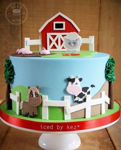 This cute farm cake was made for an Early Childhood Centre celebrating their Anniversary 😊 the animals are all based off Pixel Paper Prints - love their work! White chocolate vanilla cake with white chocolate ganache :) Farm Animal Cakes, Farm Animal Party, Farm Animal Birthday, Barnyard Cake, Barnyard Party, Farm Cake, Farm Themed Party, Farm Party, Farm Birthday Cakes