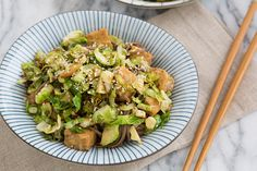 brussels sprout, tempeh & soba noodle skillet