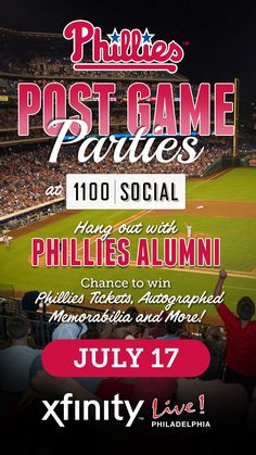 "Mark your calendars! Next Phillies Post Game Party is July 17th! Meet Phillies Celebrities - Former Phillies outfielder Gary ""Sarge"" Matthews and former Phillies infielder Mickey Morandini - See more at: http://www.xfinitylive.com/entertainment/event/8044#sthash.hPlnhUy2.dpuf"