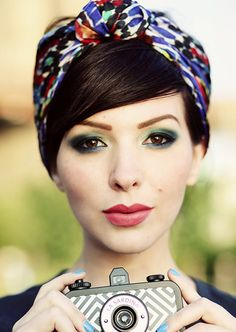 Leaving your bangs out, wrap a headscarf up into a headband, then tuck in the excess hair in the back | Beauty High