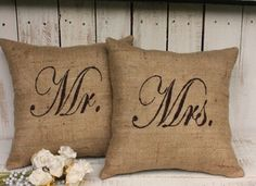 French Country Farmhouse Chic MR. MRS. BURLAP PILLOW Set 2 Small Decorative