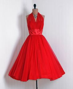 Party Dress: 1950's, sheer nylon chiffon and shimmer satin, sweetheart sheer-illusion backless bow halter bodice.