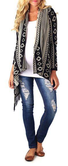Black and White Aztec Cardigan