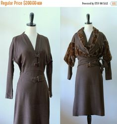 1940s Cocktail Dress and Mink Fur Wrap Jacket $160 by SassySisterVintage