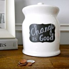 Give a thrift store jar new life and turn it into a change collector!