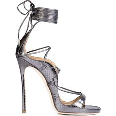 Dsquared2 'Riri' sandals (€1.735) ❤ liked on Polyvore featuring shoes, sandals, grey, stiletto shoes, high heel stilettos, gray shoes, leather shoes and leather sandals