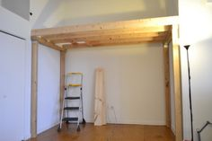 Here we created a small square opening to make room for a wooden ladder