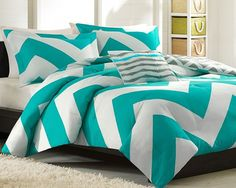 Our Giant Chevron Comforter Collection can update the look and feel of your room instantly. A bright teal and white chevron design on one side and a scaled-down gray and white chevron reverse catches