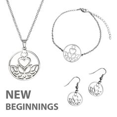 New Beginnings Silver Jewelry Set Silver Pendant Necklace, Silver Necklaces, Silver Earrings, Silver Jewelry, Silver Ring, Stainless Steel Chain, Pendant Set, New Beginnings