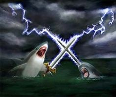 Epic Shark vs. Narwhal Painting