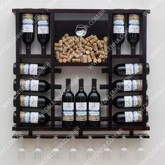adega porta rolhas em madeira maciça - 15 garrafas de vinho Wine Glass Rack, Wood Wine Racks, Wine Rack Wall, Wine Shelves, Wine Storage, Wine Rack Design, Alcohol Dispenser, Home Bar Designs, Home Ceiling