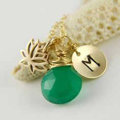 Personalized Lotus Initial Necklace by anatoliantaledesign on Etsy, $38.00