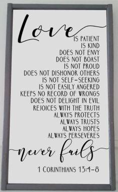 20x28 Framed Sign - 1 Corinthians 13 - Love is Patient...Love is Kind...Love never fails...