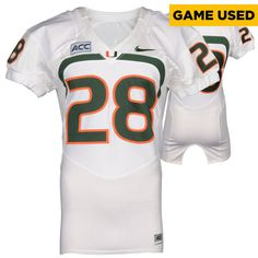 Miami Hurricanes Fanatics Authentic Game-Used 2007 - 2013 Nike White Football Jersey #28 - Size 40 - $199.99
