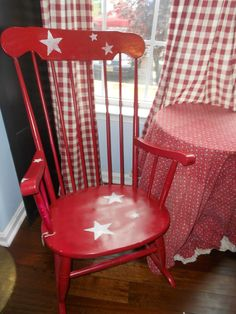 Americana Red Rocking Chair.