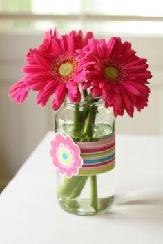 pasta jar as flower vase