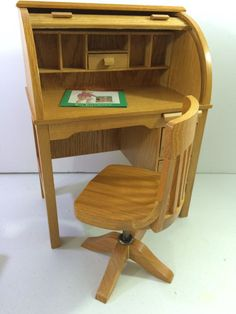 New American Girl Doll Kit's School Desk And Chair Rolltop Roll Top Wooden & Nib