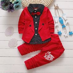 2017 Boys Spring Two Fake Clothing Sets Kids Boys Button Letter Bow Suit Sets Children Jacket + Pants 2 pcs Clothing Set Baby - Kid Shop Global - Kids & Baby Shop Online - baby & kids clothing, toys for baby & kid Baby Outfits, Toddler Boy Outfits, Kids Outfits, Casual Outfits, Baby Boy Fashion, Kids Fashion, Style Fashion, Fashion Fabric, Suit Fashion