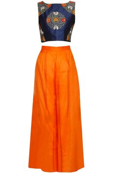 Navy blue embroidered crop top with orange palazzo pants available only at Pernia's Pop Up Shop.