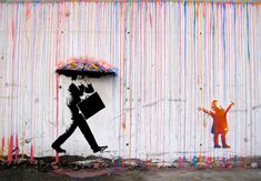Banksy inspired street art by Norway's Skurktur. I love the vibrant colours dripping down (reminds me of melting crayons). The man with the umbrella is the darkness to the light and colour of the world, showing that life isn't always what it seems and that corporate people really need to learn how to live and be creative! :D