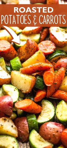 These wholesome, rustic Roasted Potatoes and Carrots are the absolute best side dish! You'll love the mouthwatering taste of caramelized veggies dressed with olive oil, black pepper, and garlic. And best of all, they're incredibly easy to make! Vegetarian Recipes Easy, Vegetable Recipes, Easy Dinner Recipes, Easy Meals, Cooking Recipes, Yummy Recipes, Yummy Food, Healthy Recipes, Creamy Pasta Bake