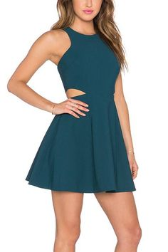 Turquoise A-Line Dress With Cutout Detail Semi Dresses, Hoco Dresses, Dresses For Teens, Simple Dresses, Pretty Dresses, Turquoise Homecoming Dresses, Cotillion Dresses, Skater Dresses, Look Fashion