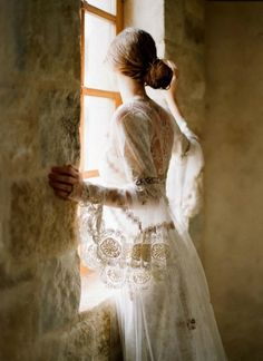 light, and lace in a window